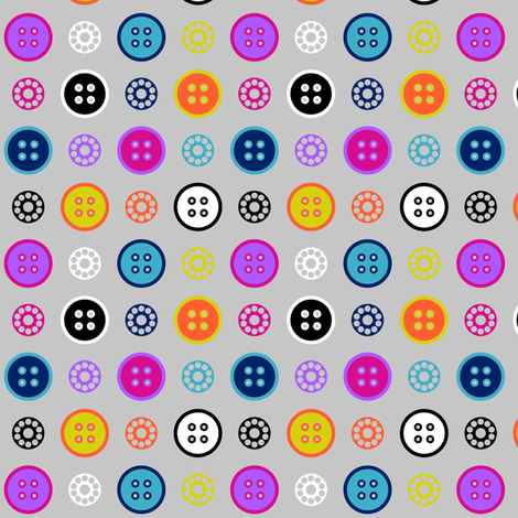 Button and Bobbin Dot Grey Small fabric by modgeek on Spoonflower - custom fabric