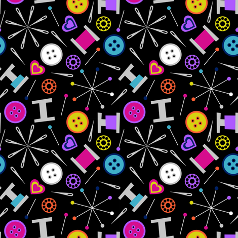 Sewing Notions Black Small fabric by modgeek on Spoonflower - custom fabric