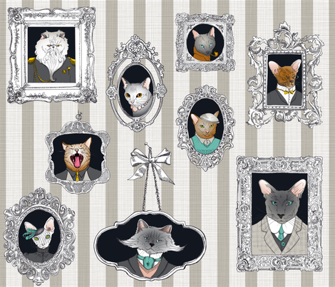 Cat Family Portraits fabric by juliesfabrics on Spoonflower - custom fabric
