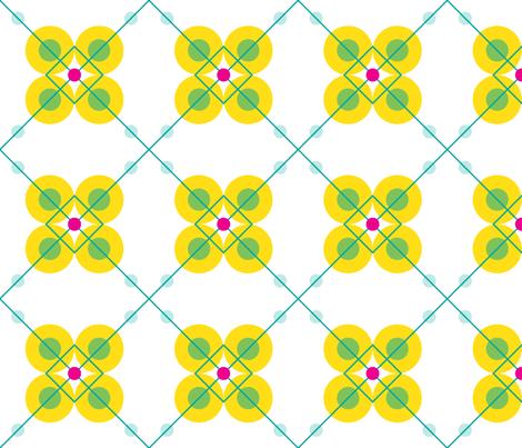 Yellow Teal Flower Medium fabric by bellwether_designs on Spoonflower - custom fabric