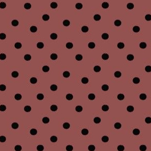 Boho Dots | Black Spots on Marsala | Wine Polka Dot