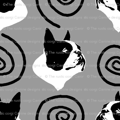 Whimsical Boston Terrier faces - gray