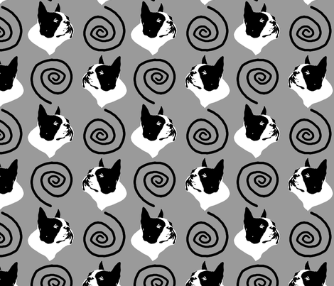 Whimsical Boston Terrier faces - gray fabric by rusticcorgi on Spoonflower - custom fabric