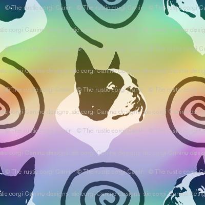 Whimsical Boston Terrier faces - rainbow