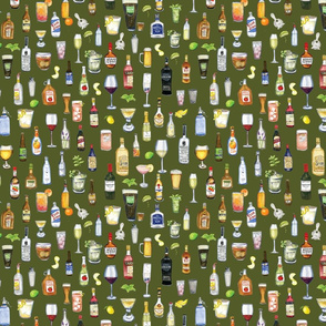 Night cap cocktail fabric in green
