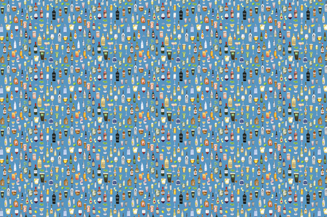 Night Cap cocktail fabric in blud fabric by lesliezemsky on Spoonflower - custom fabric