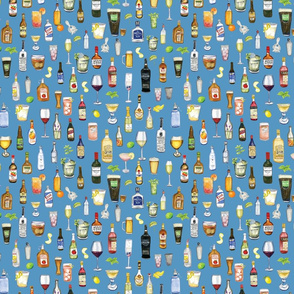 Night Cap cocktail fabric in blud