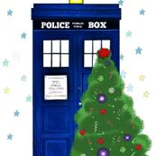 Winter Police Box Christmas Trees and Stars