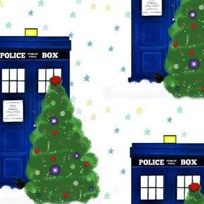 Winter Police Box Christmas Trees and Stars