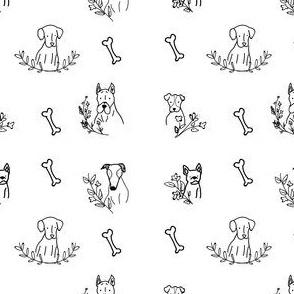 Pups 'N' Florals B&W