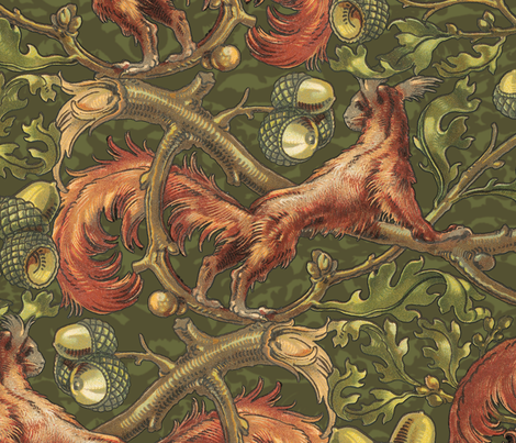 Squirrels In Branches ~ Shadows and Leaves  fabric by peacoquettedesigns on Spoonflower - custom fabric