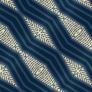 Serpentine stripes indigo