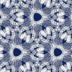 loopy lacy flowers indigo