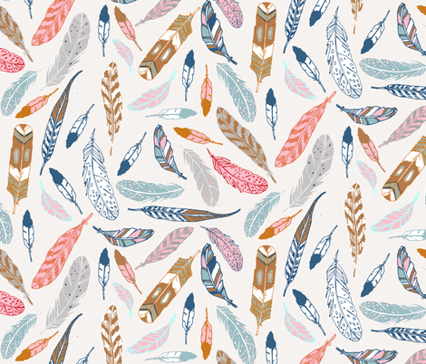 Gypsy Feathers (dijon) fabric by nouveau_bohemian on Spoonflower - custom fabric