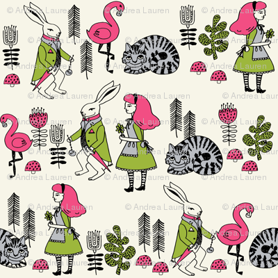 alice and white rabbit // fairy tale cheshire cat mad hatter kids girls illustration fabric print pattern