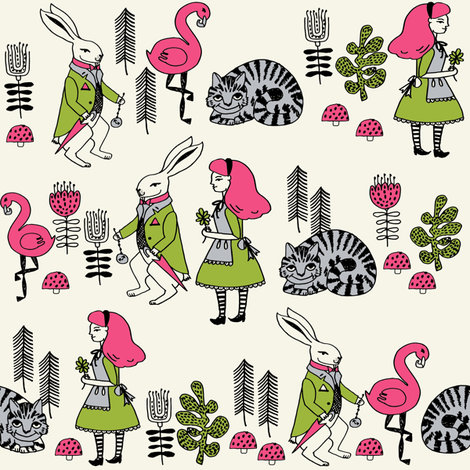 alice and white rabbit // fairy tale cheshire cat mad hatter kids girls illustration fabric print pattern fabric by andrea_lauren on Spoonflower - custom fabric