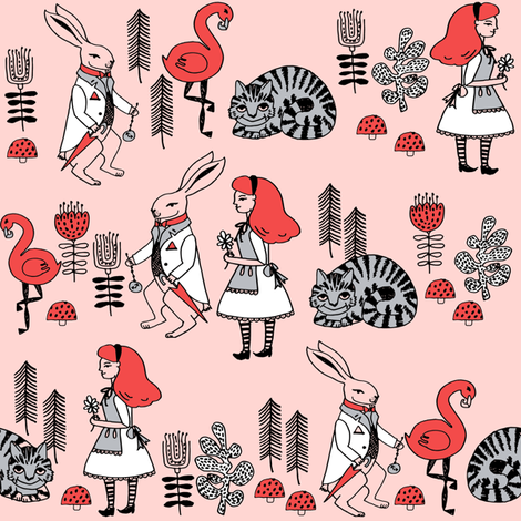 alice and white rabbit // cheshire cat flamingo alice in wonderland fairy tale illustration print fabric by andrea_lauren on Spoonflower - custom fabric