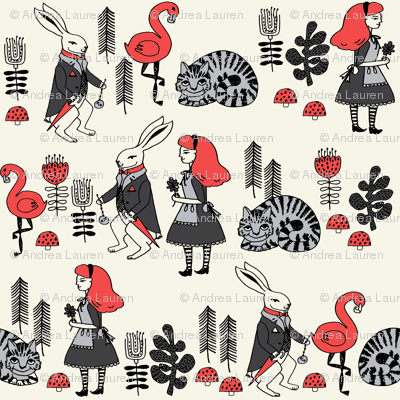 alice and white rabbit // cheshire cat illustration pattern fairy tale pattern