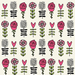 wonderland roses // pink heart pink roses flowers queen of hearts fairy tale fabric pattern