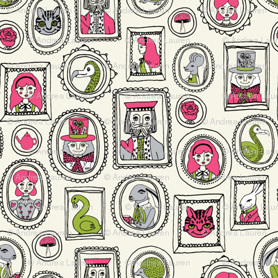 wonderland portraits // alice fairy tale and march hare and queen of hearts and cat fairy tale fabric illustration pattern