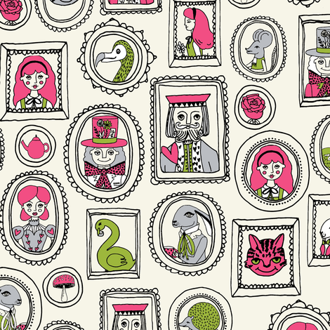 wonderland portraits // alice fairy tale and march hare and queen of hearts and cat fairy tale fabric illustration pattern fabric by andrea_lauren on Spoonflower - custom fabric