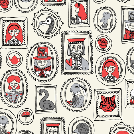 wonderland portraits // mad hatter alice queen of hearts dodo cheshire cat illustration pattern fabric by andrea_lauren on Spoonflower - custom fabric