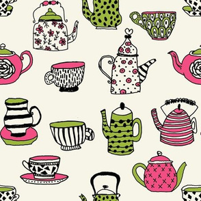tea cups tea party // tea cup british hand-drawn illustration pattern girls print