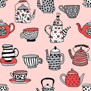 tea cups tea party // alice in wonderland mad hatter tea party hand-drawn illustration pattern