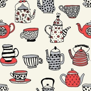 tea cups tea party // alice in wonderland tea party british hand-drawn illustration tea pattern
