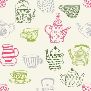tea cups tea party // pink and green fairy tale alice in wonderland tea british illustration pattern andrea lauren fabric andrea lauren design