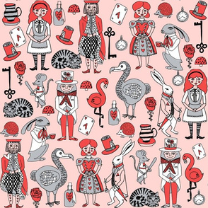 alice in wonderland // pink grey red and mad hatter fairy tale theme illustration pattern for kids design print pattern
