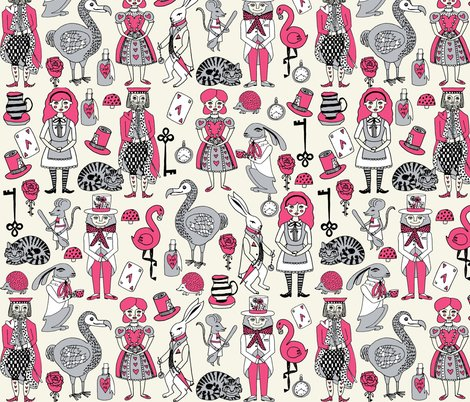 Rwonderland Pink Grey Shop Preview Alice In Wonderland Fabric Mad Hatter White Rabbit Fairytale Hand Drawn