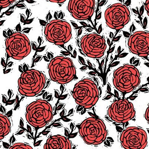 rose // spring florals flower traditional block print linocut illustration