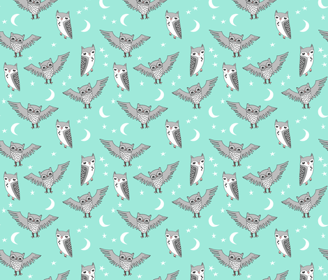 owl // bright mint owl moon stars mint and grey kids room  fabric by andrea_lauren on Spoonflower - custom fabric