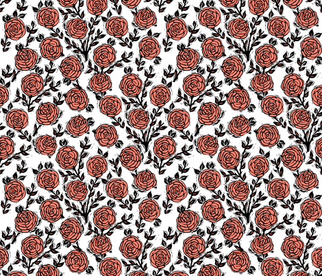 rose // linocut william morris inspired roses block print coral summer spring rose valentines flowers fabric by andrea_lauren on Spoonflower - custom fabric