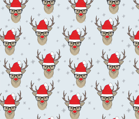 Hipster Rudolf with snowflake fabric by taluna on Spoonflower - custom fabric