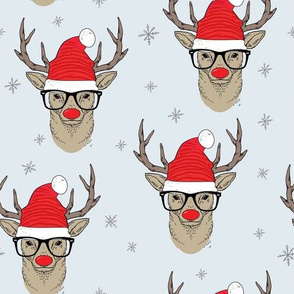 Hipster Rudolf with snowflake