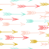 Arrows Coral Pink Mint Yellow Wallpaper By Andrea