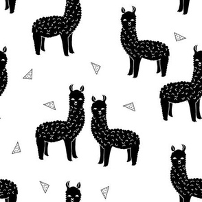 alpaca // black and white kids nursery baby llamas triangles