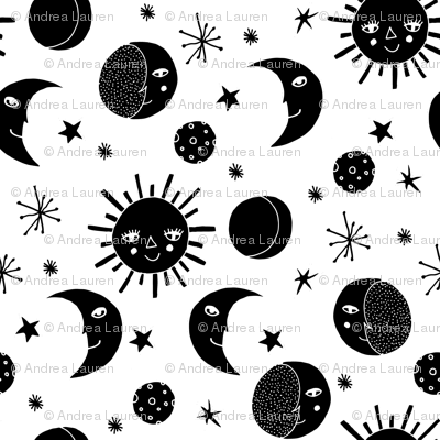Moon // black and white moon stars night sky black and white