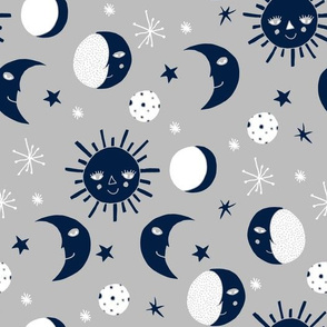 sun moon stars // navy and grey kids room decor