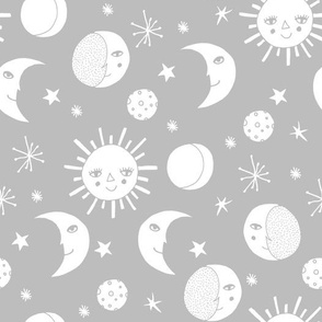 sun moon stars // grey kids nursery monochrome minimal baby kids design
