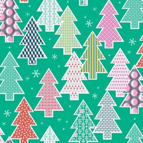 Tree Farm (Green) || Christmas holiday pattern polka dots snow snowflake stripe geometric plaid gingham