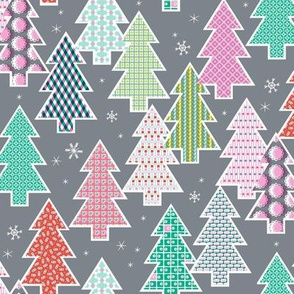 Tree Farm (Silver) || Christmas holiday pattern polka dots snow snowflake stripe geometric plaid gingham