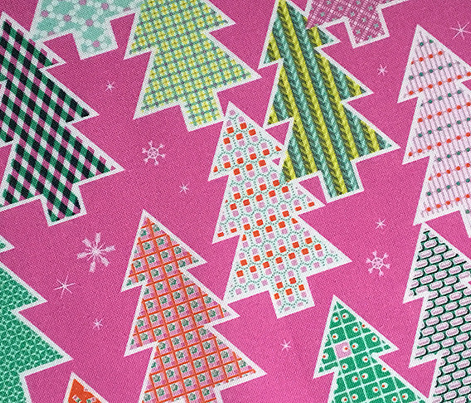 Tree Farm (Pink) || Christmas holiday pattern polka dots snow snowflake stripe geometric plaid gingham