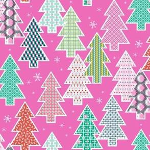 Tree Farm (Pink) || Christmas holiday pattern polka dots snow snowflake stripe geometric plaid gingham
