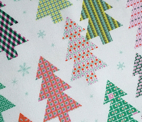 Tree Farm (Snow) || Christmas holiday pattern polka dots snow snowflake stripe geometric plaid gingham