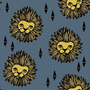 lion // lion head blue and yellow kids boys nursery zoo animal exotic safari roar  rawr