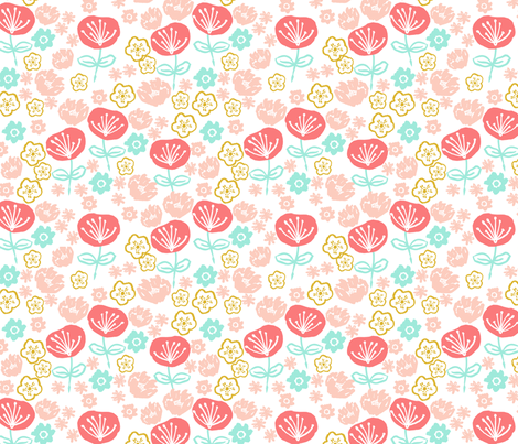 spring flowers // coral mint pink gold girly sweet floral flowers spring easter print fabric by andrea_lauren on Spoonflower - custom fabric