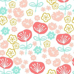 spring flowers // coral mint pink gold girly sweet floral flowers spring easter print
